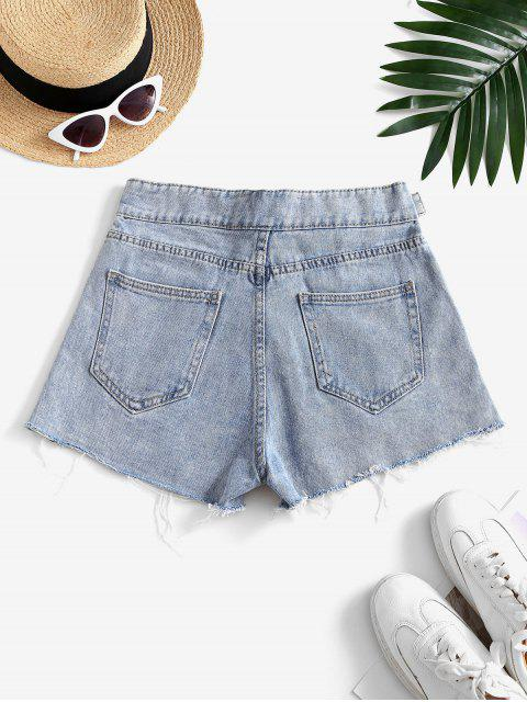 women Snap Button Frayed Distressed Cutoff Shorts - LIGHT BLUE L Mobile