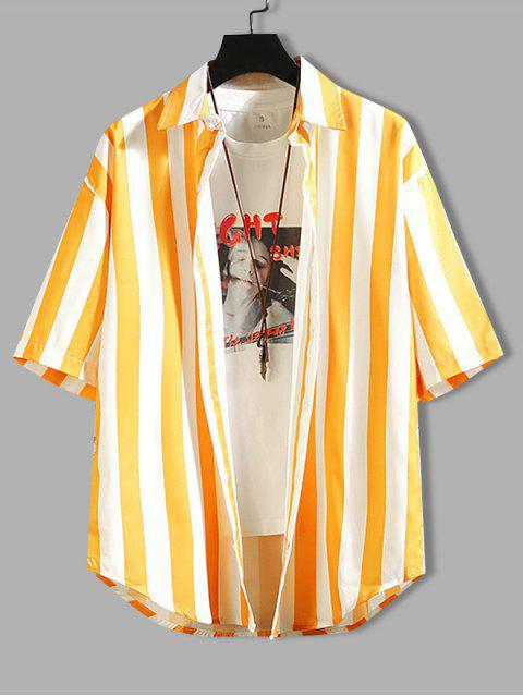 affordable Contrast Striped Curved Hem Shirt - YELLOW 3XL Mobile