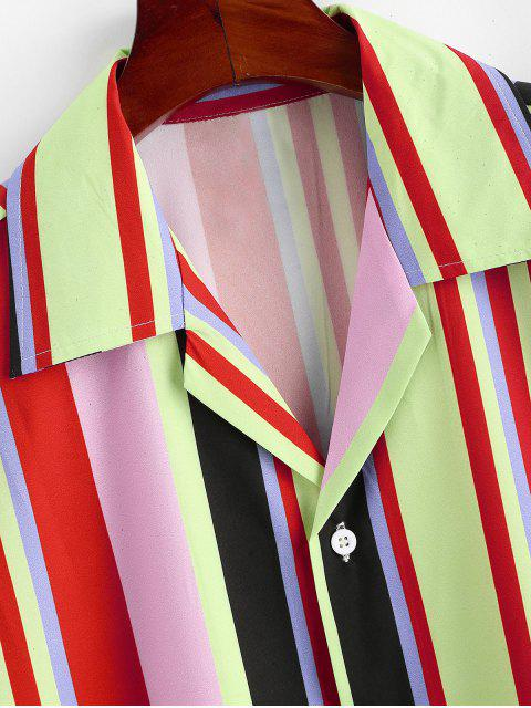 best Colorful Striped Pattern Button Shirt - LIGHT YELLOW XL Mobile