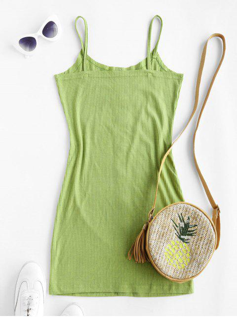 fancy ZAFUL Ribbed Buttoned Bodycon Dress - LIGHT GREEN M Mobile