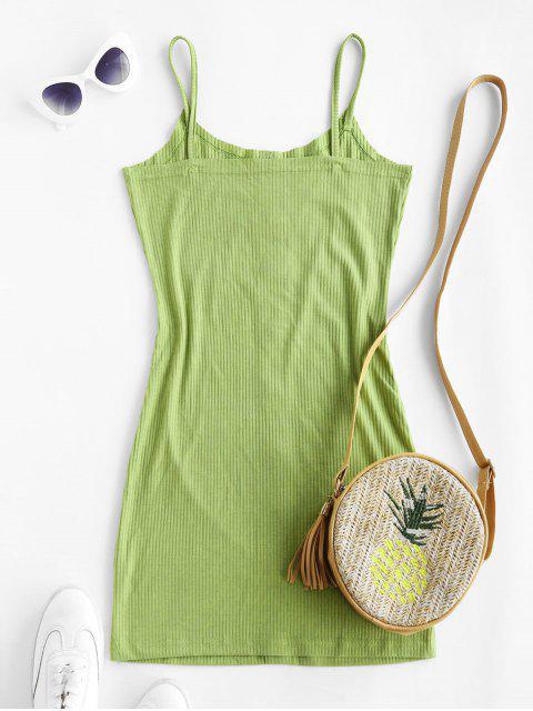 unique ZAFUL Ribbed Buttoned Bodycon Dress - LIGHT GREEN L Mobile