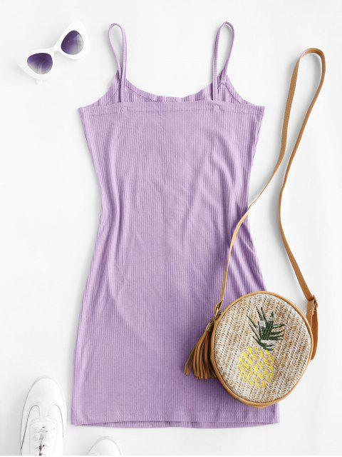 sale ZAFUL Ribbed Buttoned Bodycon Dress - LIGHT PURPLE S Mobile