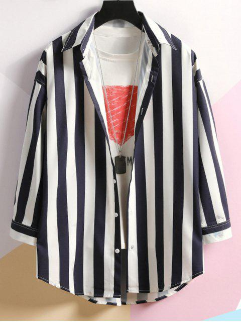 chic Contrast Striped Curved Hem Button Shirt - COBALT BLUE 3XL Mobile