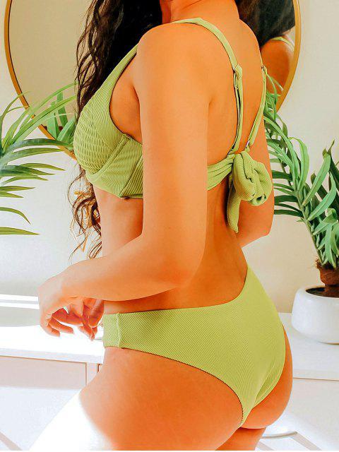best ZAFUL Ribbed Underwire Smocked Balconette Bikini Swimsuit - GREEN SNAKE M Mobile