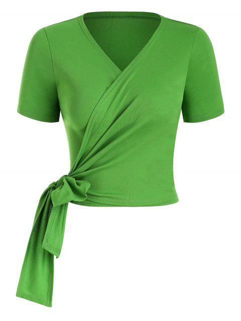 trendy Solid Wrap Top - LIGHT GREEN M Mobile