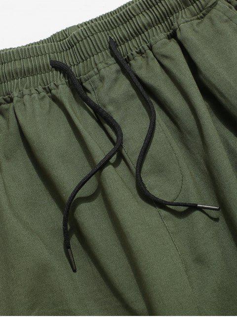 Pantalones de Carga de Multi-bolsillo de Color Sólido - Ejercito Verde XS Mobile