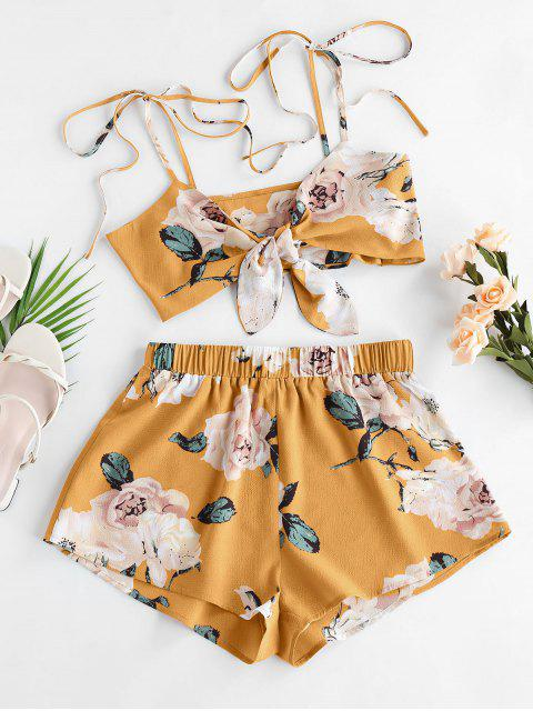 women ZAFUL Flower Tie Shoulder Knotted Two Piece Set - YELLOW L Mobile