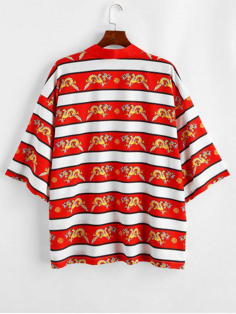 Camicia Casuale Stampata Drago - Rosso 2XL Mobile