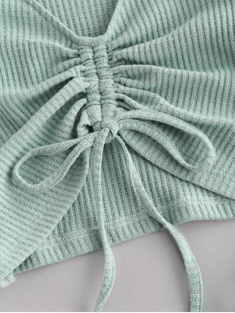 ladies Colorblock Textured Cinched Raglan Sleeve Pocket Shorts Set - LIGHT GREEN S Mobile
