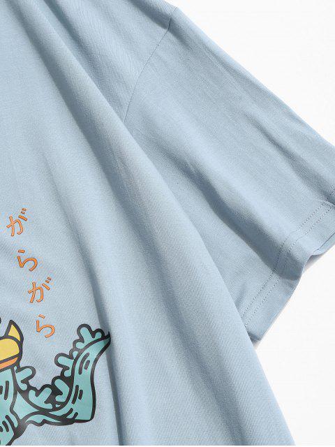 trendy Cartoon Monster Print Round Neck T-shirt - LIGHT SKY BLUE 3XL Mobile