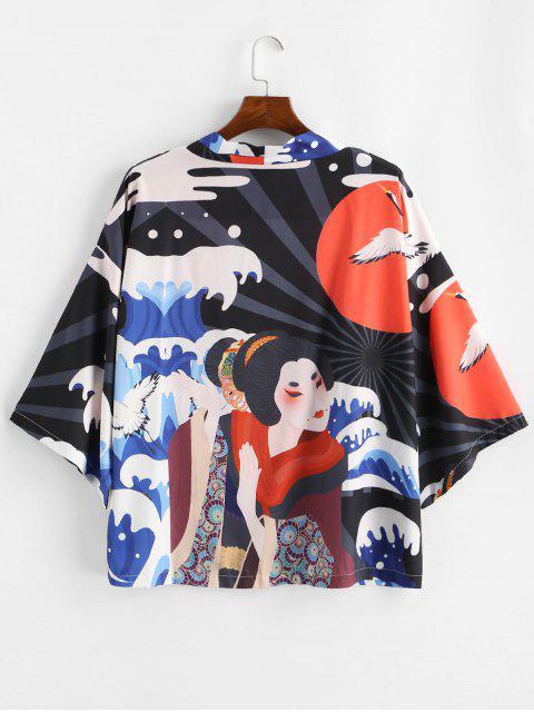 womens Geisha Asian Waves Red Sun Graphic Kimono Cardigan - BLACK L Mobile
