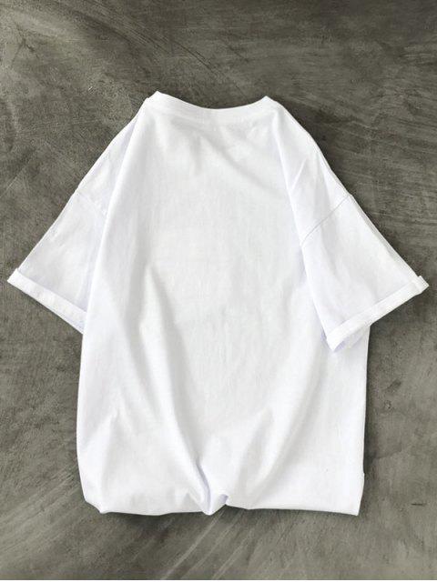 unique Burst Volcano Dinosaur Graphic T-shirt - WHITE XS Mobile