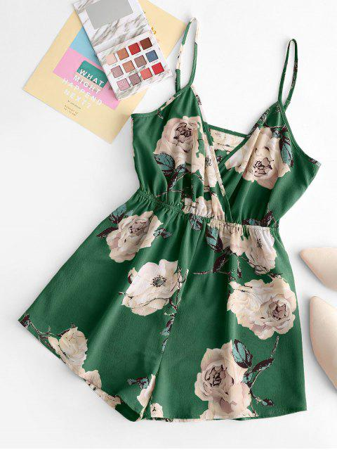 women's ZAFUL Floral Wide Leg Cami Romper - CLOVER GREEN S Mobile
