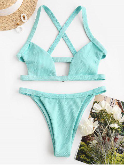 sale ZAFUL Cutout Crisscross Textured Bikini Swimwear - LIGHT BLUE L Mobile