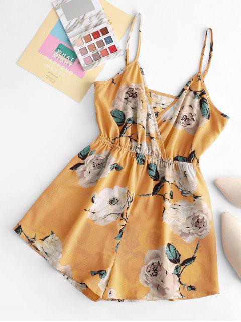 sale ZAFUL Floral Wide Leg Cami Romper - YELLOW S Mobile