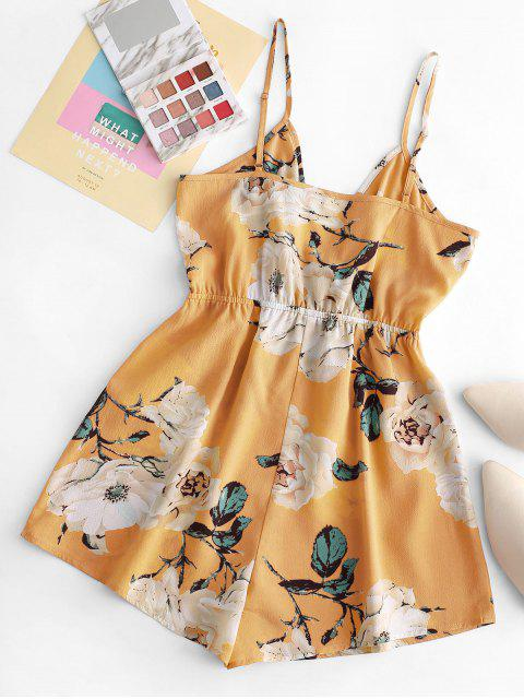 hot ZAFUL Floral Wide Leg Cami Romper - YELLOW M Mobile