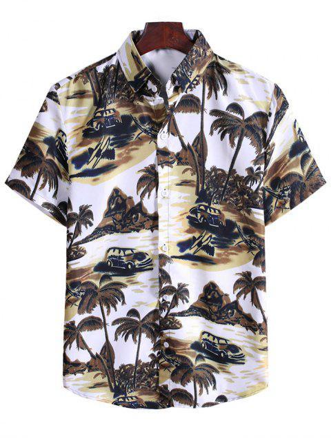 women Coconut Tree Landscape Print Vacation Shirt - BROWN BEAR 2XL Mobile