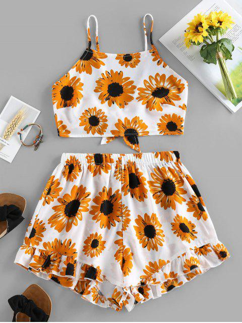 ladies ZAFUL Sunflower Knotted Ruffle Two Piece Set - WHITE M Mobile