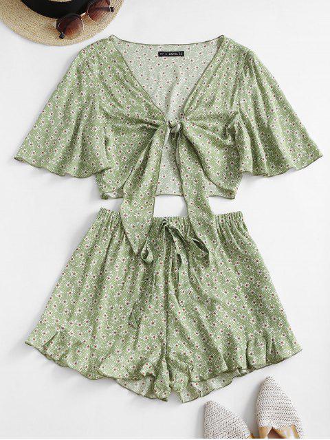 ZAFUL Set de Shorts de Pierna Ancha con Volantes y Estampado de Flor - Verde claro S Mobile