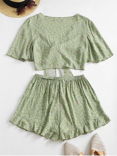 best ZAFUL Ditsy Print Tied Ruffle Wide Leg Shorts Set - LIGHT GREEN L Mobile