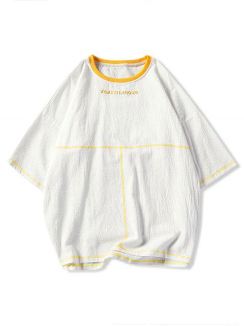 latest Embroidery Contrast Stitching Drop Shoulder T-shirt - WHITE 4XL Mobile