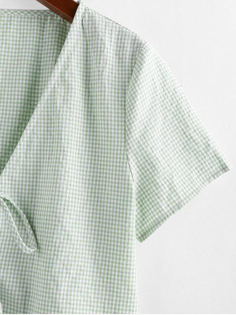 women's ZAFUL Gingham Tie Front Plunging Blouse - MULTI-A XL Mobile