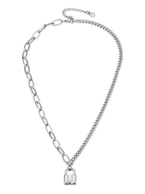 women 316L Stainless Steel Lock Pedant Chain Collarbone Necklace - SILVER  Mobile