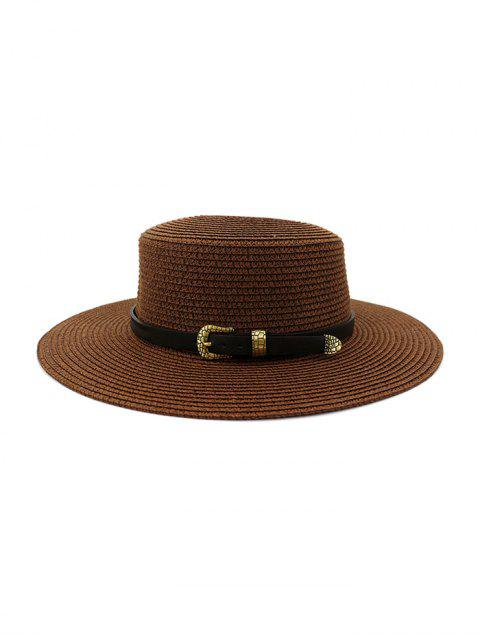 affordable Buckle Belt Wide Brim Flat Top Straw Hat - COFFEE  Mobile