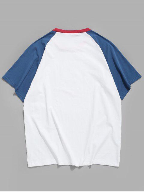 T-shirt Estampada com Bandeira Americana Carta de Cor - Branco S Mobile