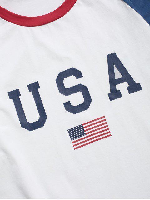 Maglietta con Stampa a Lettera e Bandiera Americana - Bianca S Mobile