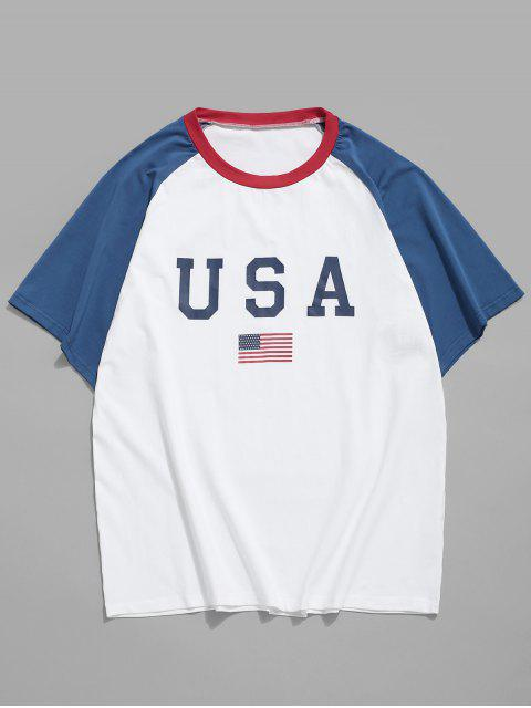outfit American Flag Letter Printed T-shirt - WHITE 2XL Mobile