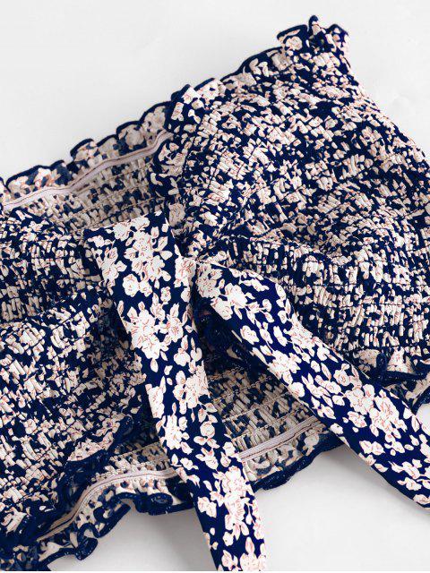 fancy ZAFUL Tie Ditsy Print Ruffle Smocked Two Piece Dress - LAPIS BLUE S Mobile