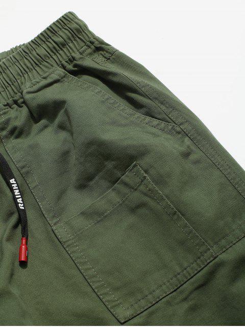Buchstabe Muster Hose mit Multi Tasche - Armeegrün XS Mobile