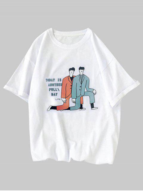 Cartoon Men Character Letter Print Basic T-shirt - أبيض XS Mobile