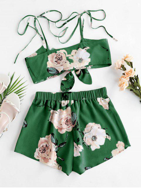 fancy ZAFUL Flower Tie Shoulder Knotted Two Piece Set - CLOVER GREEN S Mobile