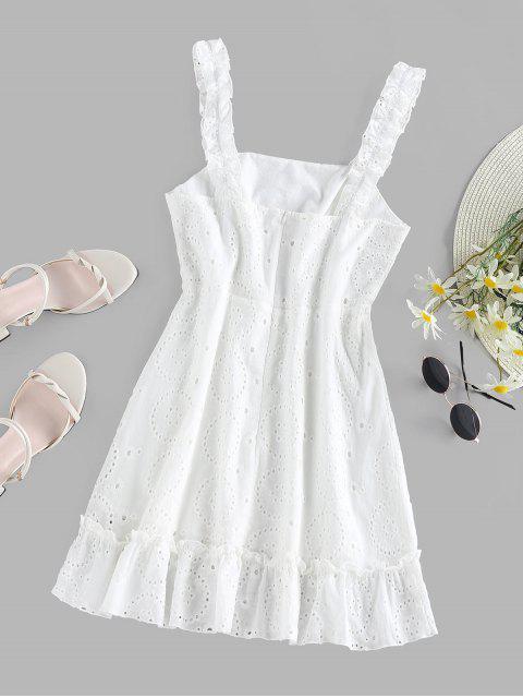 ZAFUL Rüsche Besticktes Minikleid - Weiß XL Mobile