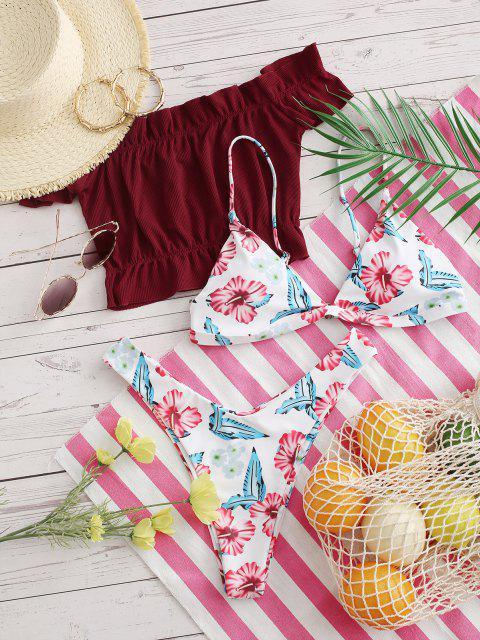 sale ZAFUL Leaf Print High Leg Three Piece Swimsuit - DEEP RED S Mobile