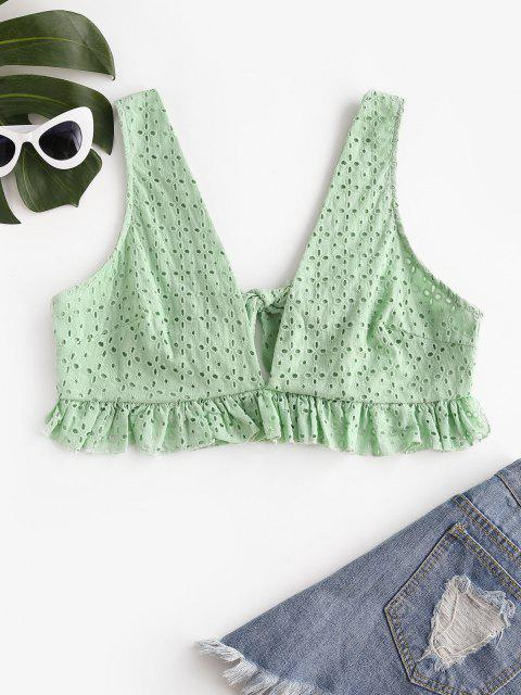 Ruffle Back Knot Broderie Anglaise Tank Top - أخضر S Mobile