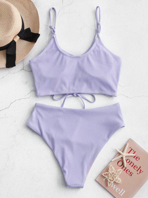 ZAFUL Maillot de Bain Tankini Côtelé à Taille Haute à Lacets - Violet clair S Mobile