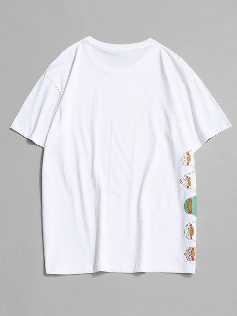 affordable Letter Cartoon Duck Print Round Neck T-shirt - WHITE 2XL Mobile