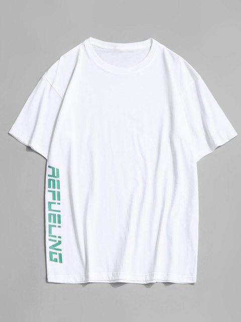 T-shirt Canard Lettre Dessin Animé Imprimé à Col Rond - Blanc 4XL Mobile