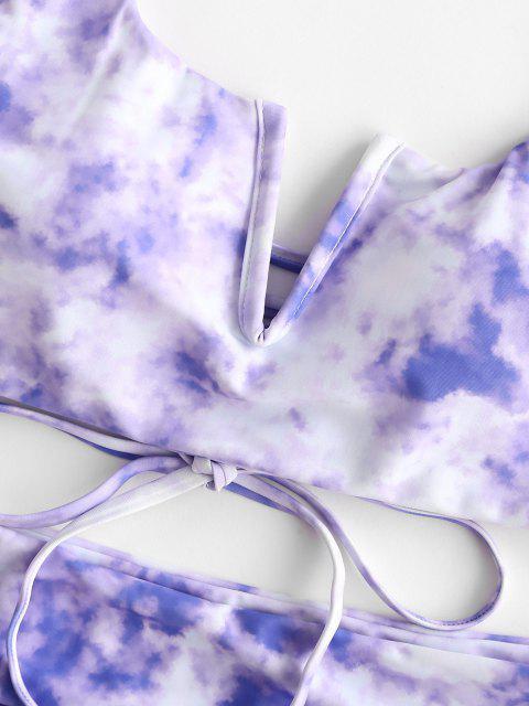 ZAFUL Maillot de Bain Tankini Teinté à Coupe Haute à Volants à Lacets - Violet clair L Mobile