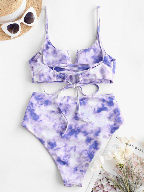chic ZAFUL Tie Dye Lace Up High Cut Ruched Tankini Swimwear - LIGHT PURPLE XL Mobile