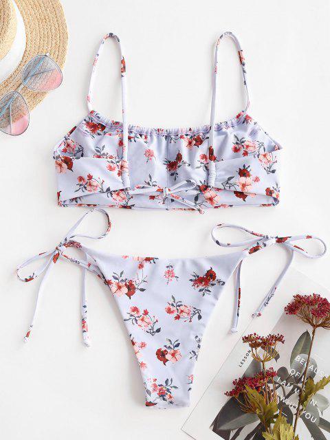 ZAFUL Maillot de Bain Bikini Fleur Noué à Côté - Violet clair L Mobile