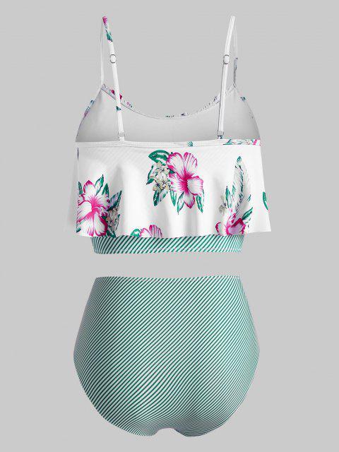 women ZAFUL Plus Size Striped Floral Ruched Tankini Swimwear - DEEP GREEN 2X Mobile