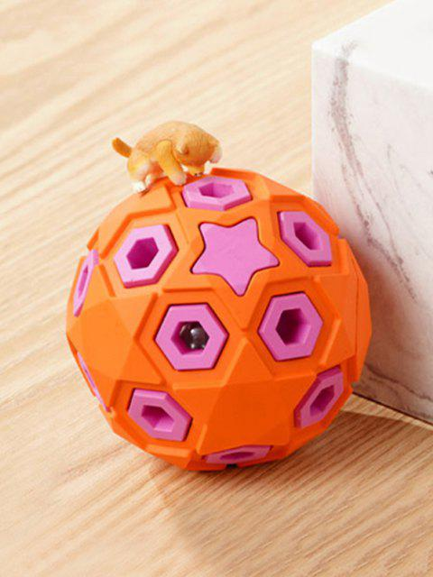Layered Ball Shape Rubber Squeaky Dog Chew Toy - Cor de Laranja da Abóbora  8cm Mobile