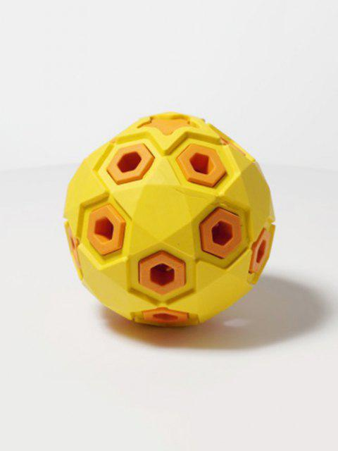 Layered Ball Shape Rubber Squeaky Dog Chew Toy - Gelb 8cm Mobile