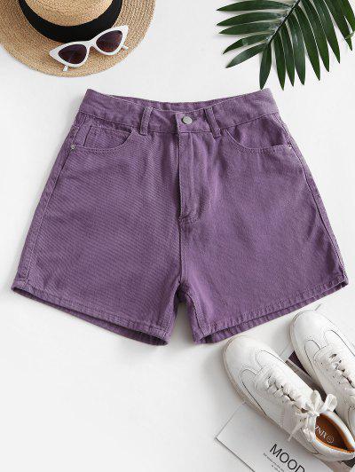 High Waisted Wide Leg Denim Shorts - Purple M