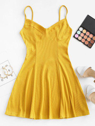 Ribbed Fit And Flare Bustier Dress - Yellow S