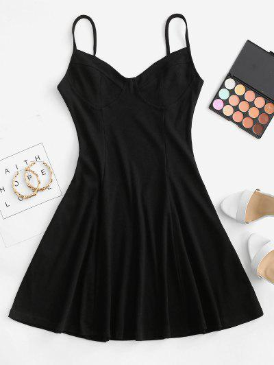 Ribbed Fit And Flare Bustier Dress - Black M